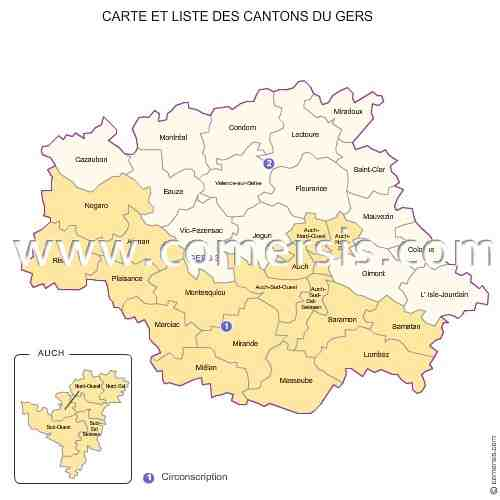 carte, cantons, gers